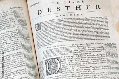 Old bible in French, 1669.  Old Testament. The book of Esther. Canvas Print