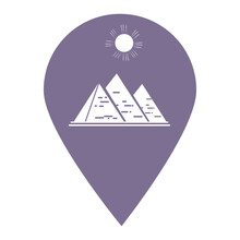 Pyramid Location Map Pin Pointer Icon. Element Of Map Point For Mobile Concept And Web Apps. Icon For Website Design And App Development. Premium Egyptian Pyramids, Dessert Location Flat Icon Sign.