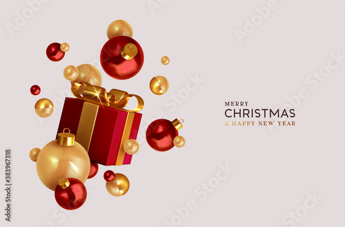 Fototapeta Merry Christmas and Happy New Year. Background with realistic festive gift box. Xmas present. Red gift boxes with surprise, Golden Christmas baubles, balls. Flyer and brochure. Vector illustration obraz