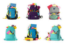 Set Of Backpacks With Bright School Stationery On White Background