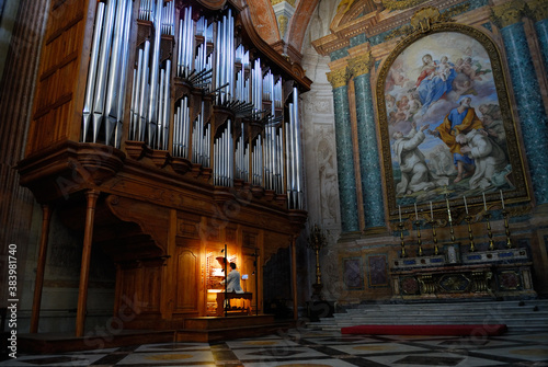Organ player in Saint Mary of the Angels basilica Rome Canvas