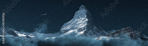 Obraz panoramic view to the majestic Matterhorn mountain at night. Valais, Switzerland - fototapety do salonu
