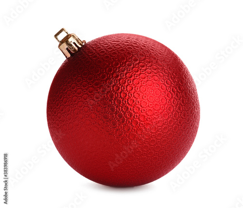 Obraz Beautiful red Christmas ball isolated on white - fototapety do salonu