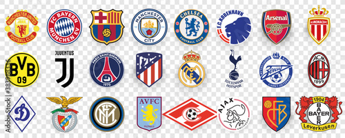UEFA rating of professional football clubs. Top 24 clubs in world. Logo Juventus, Manchester City, Paris Saint-Germain, Liverpool, Bayer, Sevilla, Manchester United, Arsenal, Tottenham Hotspur, zenit