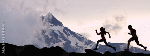 Obraz Panoramic banner of running people athletes sport fitness concept. Silhouette trail running in mountain summit background. Man and woman on run training outdoors active fit lifestyle. - fototapety do salonu