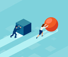 Vector Of A Smart Businessman Pushing A Sphere Leading The Race Against A Group Of Slower Businessmen Pushing Boxes.