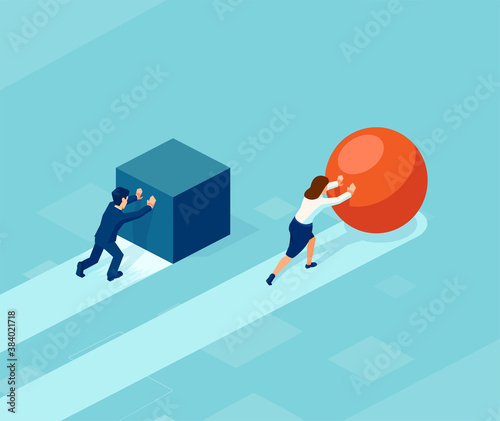 Fotografia Vector of a smart businessman pushing a sphere leading the race against a group of slower businessmen pushing boxes
