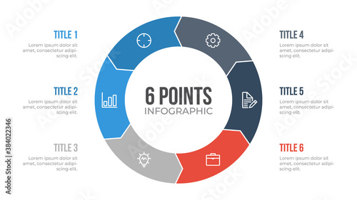 6 points circle infographic element vector with arrows, can be used for workflow, steps, options, list, processes, presentation slide, report, etc Fototapet