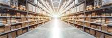 Abstract Blurred Background Image Of Panorama Rows Of Shelves With Goods Boxes In Modern Industry Warehouse Store At Factory Warehouse Storage For Logistic
