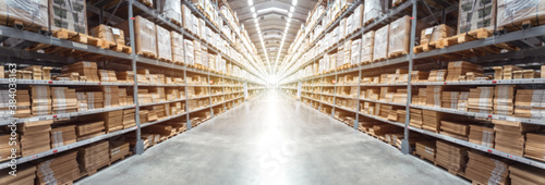 Fotografía Abstract blurred background image of Panorama Rows of shelves with goods boxes i