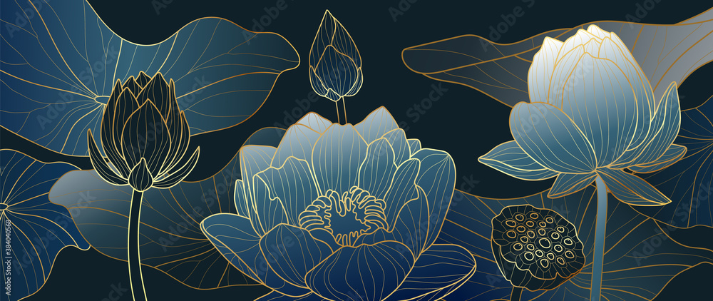 Fototapeta Luxurious blue background design with golden lotus. Lotus flowers line arts design for wallpaper, natural wall arts, banner, prints, invitation and packaging design. vector illustration.