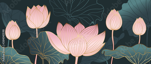Photo Luxurious background design with golden lotus