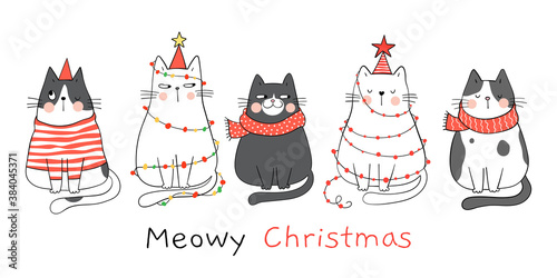 Draw banner cats. For New year and Christmas.