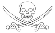 Pirate Skull With Sword Vector...