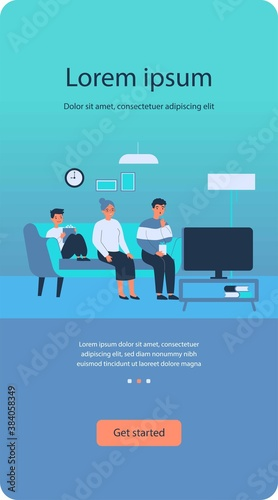 Fototapeta Happy family watching TV at home. Grandma, child and man sitting on couch in living room flat vector illustration. Leisure time, movie, show concept for banner, website design or landing web page obraz na płótnie