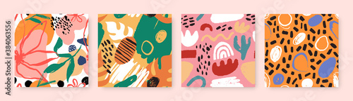 Fototapeta Abstract seamless pattern bundle with natural shapes, random freehand matisse wallpaper collection. Trendy fashion background includes modern minimalist art, summer flowers and childish doodles.  obraz