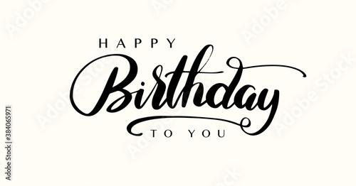 Obraz Happy Birthday lettering text banner, black color. Vector illustration. - fototapety do salonu
