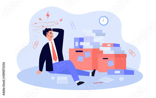 Tired frustrated office man working among piles of papers, stacks of documents and folders, suffering from headache Wallpaper Mural