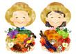 水彩 秋野菜と果物を持つ、麦わら帽子の老夫婦