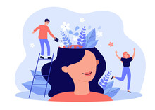 Happy Girl Having Great Mental Health And Positive Mood. Tiny Man Watering Flowers Inside Womans Head. For Psychology, Genius, Growth, Development, Intelligence Concept
