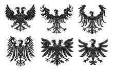 Vintage Heraldic Royal Eagles Flat Badge Set. Monochrome Medieval Retro Heraldry Design Isolated On White Background Vector Illustration Collection. Armory And Symbols Concept