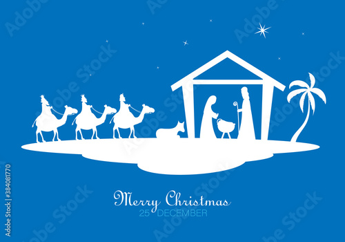 Fotografie, Tablou christmas nativity scene cartoon. Isolated vector
