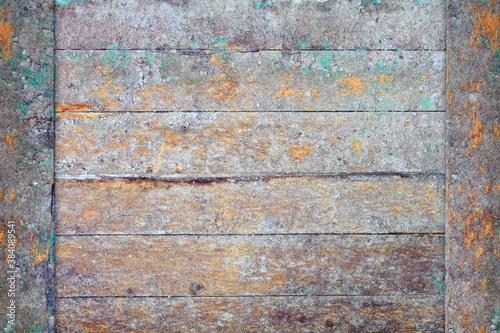 Fototapeta Frame made of dirty peeling wooden boards obraz