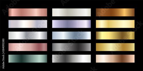 Carta da parati Metal chrome gradient color set