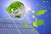 ソーラーパネルと新緑...