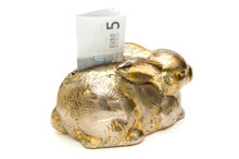 Silver Rabbit Savings Bank With A Five Euro Billet