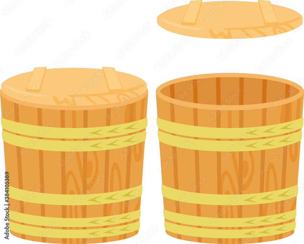 Fototapeta 蓋付きの木樽、木桶