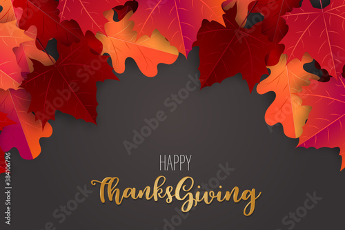 Obraz Happy Thanksgiving poster.  Background with red and orange maple fall leaves. American traditional november holiday. Banner for sale, advertisement, promotion, invitation. Golden typography text. - fototapety do salonu