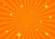 背景素材:オレンジ集中線+キラキラ