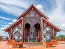 Wat Somdet Phu Ruea Ming Muang: In Front Of The Temple Built Of Teak Wood And There Is A Beautiful Viewpoint At Loei Province, Thailand.