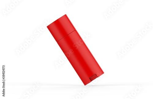 Slika na platnu Red glossy deodorant stick mockup template on isolated white background, blank r