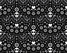 Mexican Folk Art Vector Seamless Pattern With Skulls, Halloween Decor, Flowers And Abstract Shapes, White Textile Design On Black Background