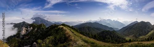 Fotografie, Obraz Hiking on the ridge in the mountains