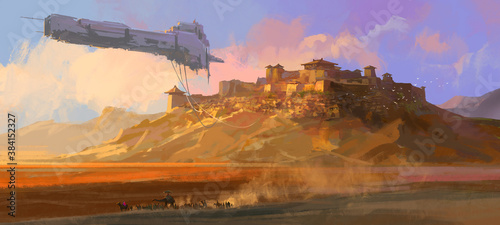 Fotografiet The dilapidated spaceship floating above the Gobi, digital painting