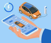 Isometric Concept Of Electric Vehicle Charge, Mobile Application For Charge Management. Car Fuel Manager Smartphone Interface.
