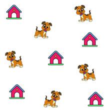Pattern Little Cute Dog Cage Line Art Vector