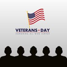 Happy Veterans Day Lettering W...