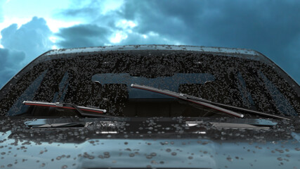 car wipers with red silicone coating sweep water from the car windshield 3d render against a cloudy sky