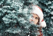 Woman Hiding Behind Christmas ...