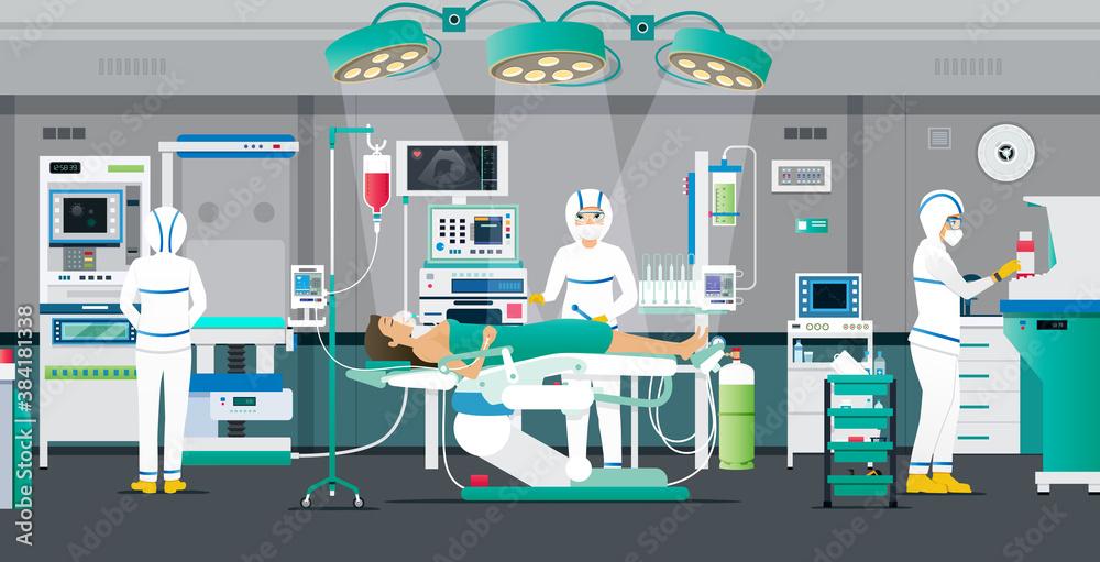 Fototapeta Doctors put PPE kits to treat COVIT-19 patients in negative pressure chambers.