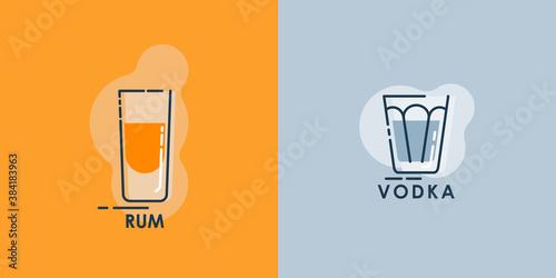 Valokuva Shot rum and glass vodka line art in flat style