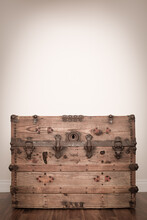 Vintage Wooden Trunk Sitting O...