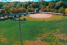 Aerial Drone Photography Of A Baseball Field In Downtown Bedford, NH (New Hampshire) During The Fall Foliage Season