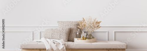Foto Wall mockup in contemporary living room design, empty white wall background, pan
