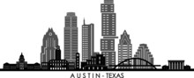 AUSTIN Texas SKYLINE City Outline Silhouette