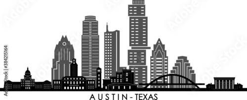 Obraz AUSTIN Texas SKYLINE City Outline Silhouette - fototapety do salonu